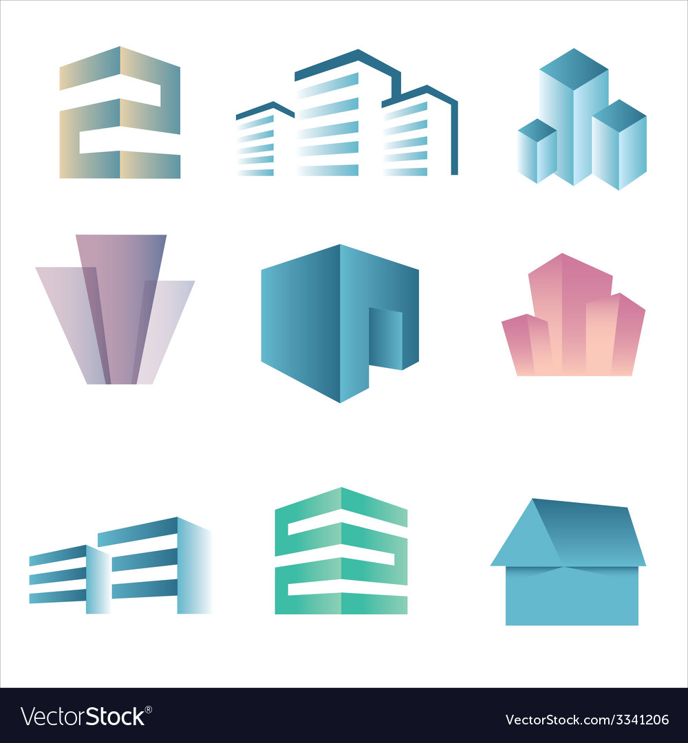 City buildings silhouette icons vector | Price: 1 Credit (USD $1)