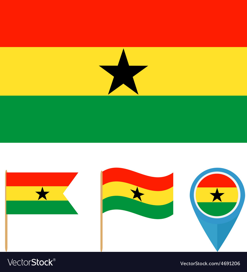 Ghana country flag vector | Price: 1 Credit (USD $1)