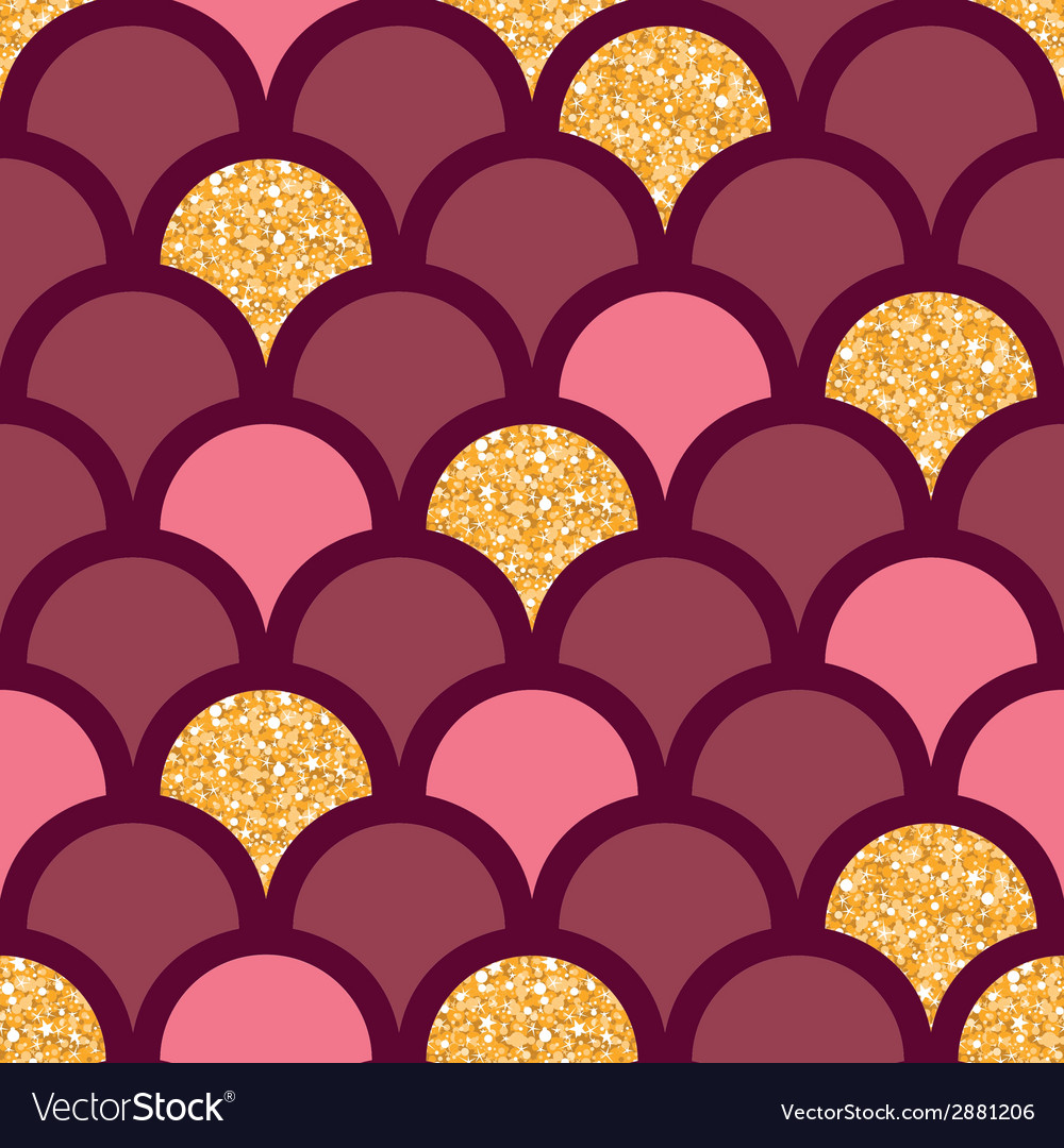 Gold glitter fish scale seamless pattern vector | Price: 1 Credit (USD $1)