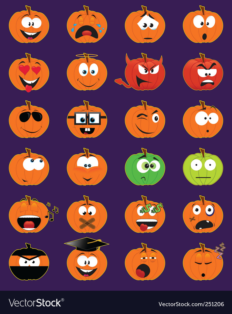 Halloween faces vector | Price: 1 Credit (USD $1)