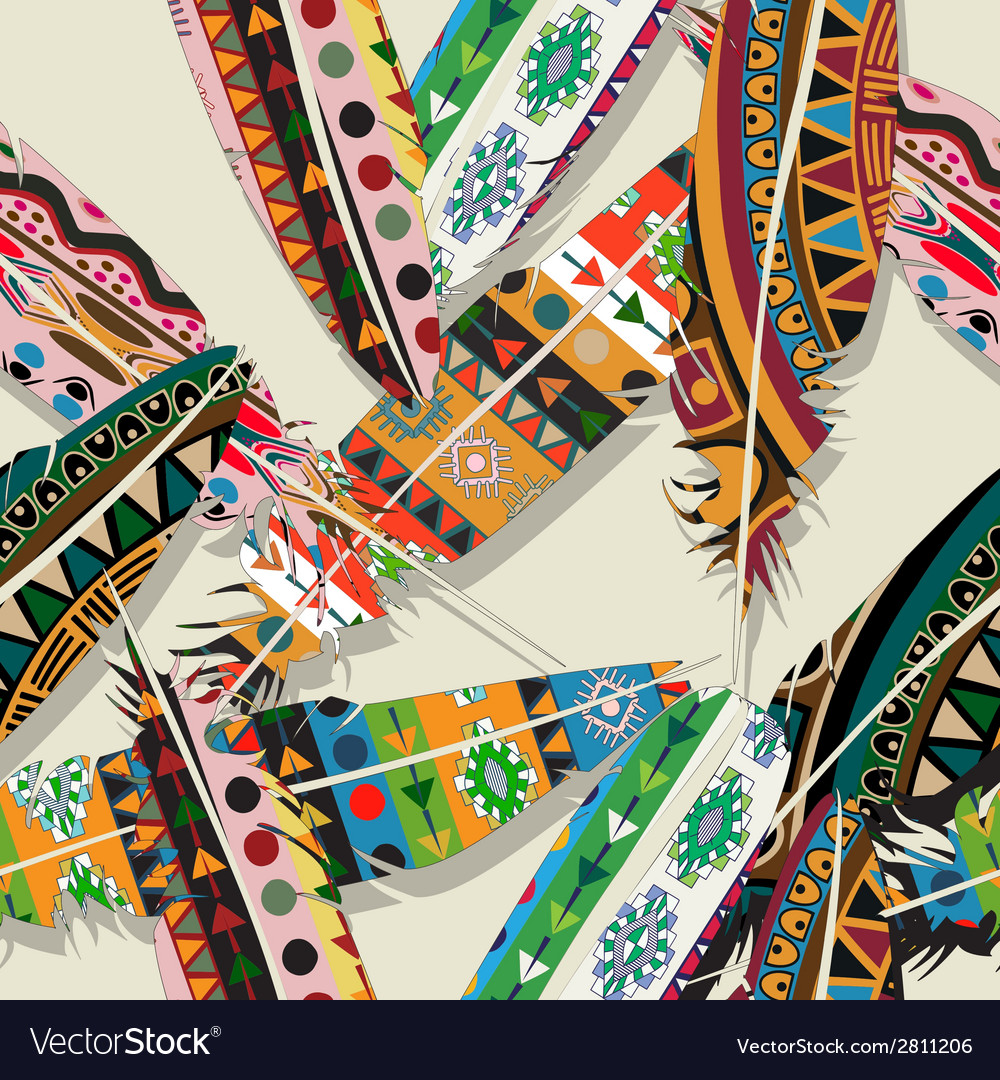 Ikat feather pattern 2 vector