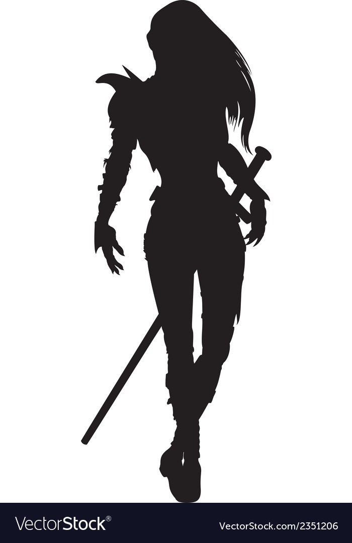 Knight woman silhouette vector   Price: 1 Credit (USD $1)