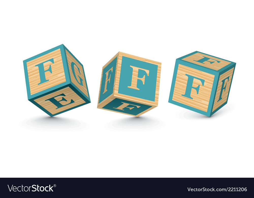 Letter f wooden alphabet blocks vector | Price: 1 Credit (USD $1)