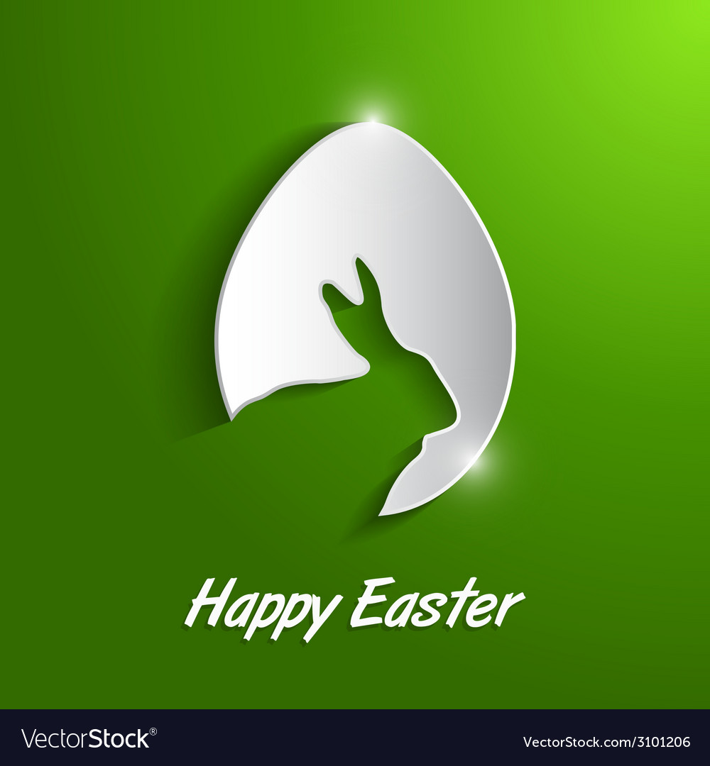 Paper easter egg with rabbit silhouette vector | Price: 1 Credit (USD $1)
