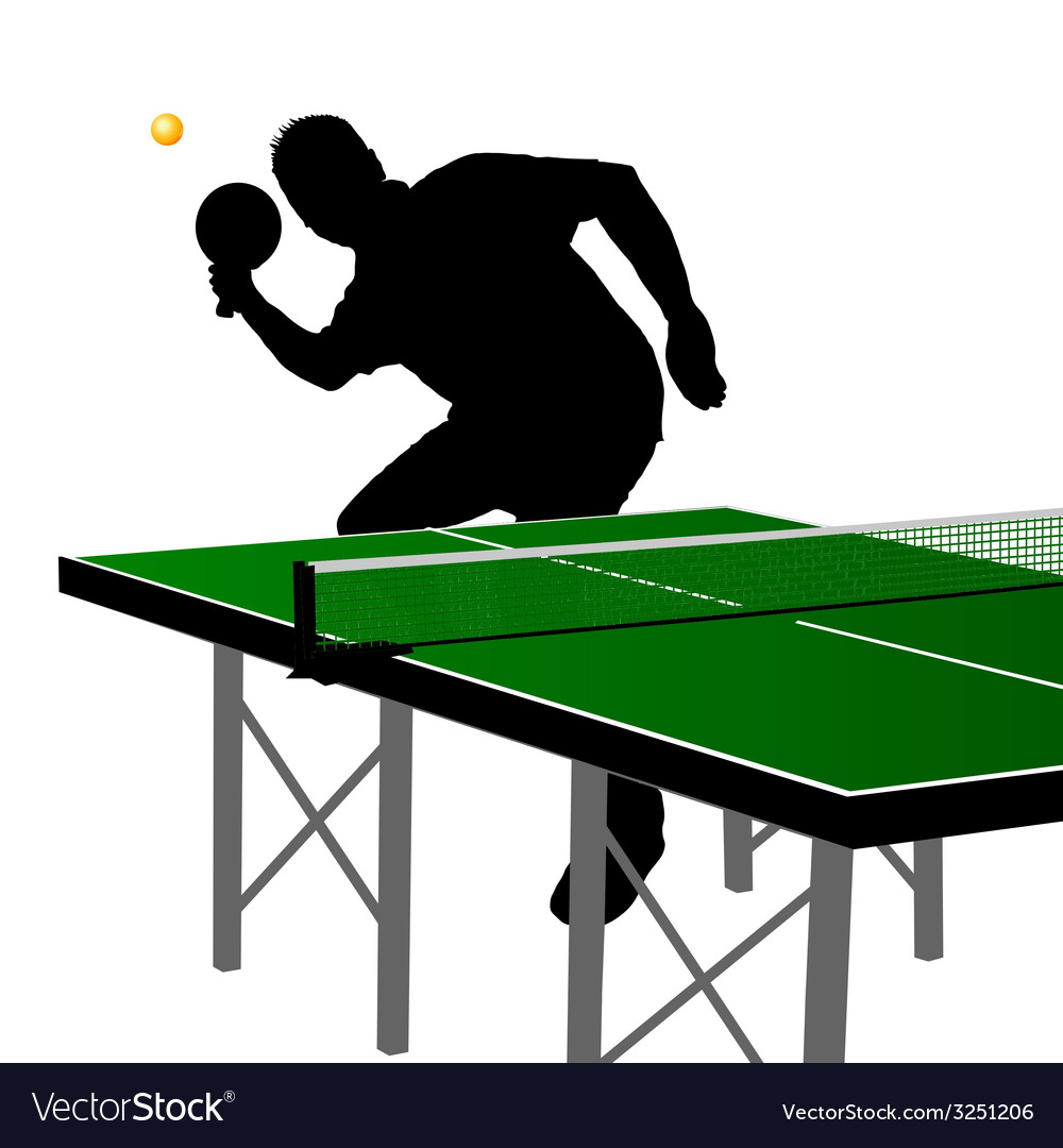 Ping pong player silhouette five vector | Price: 1 Credit (USD $1)