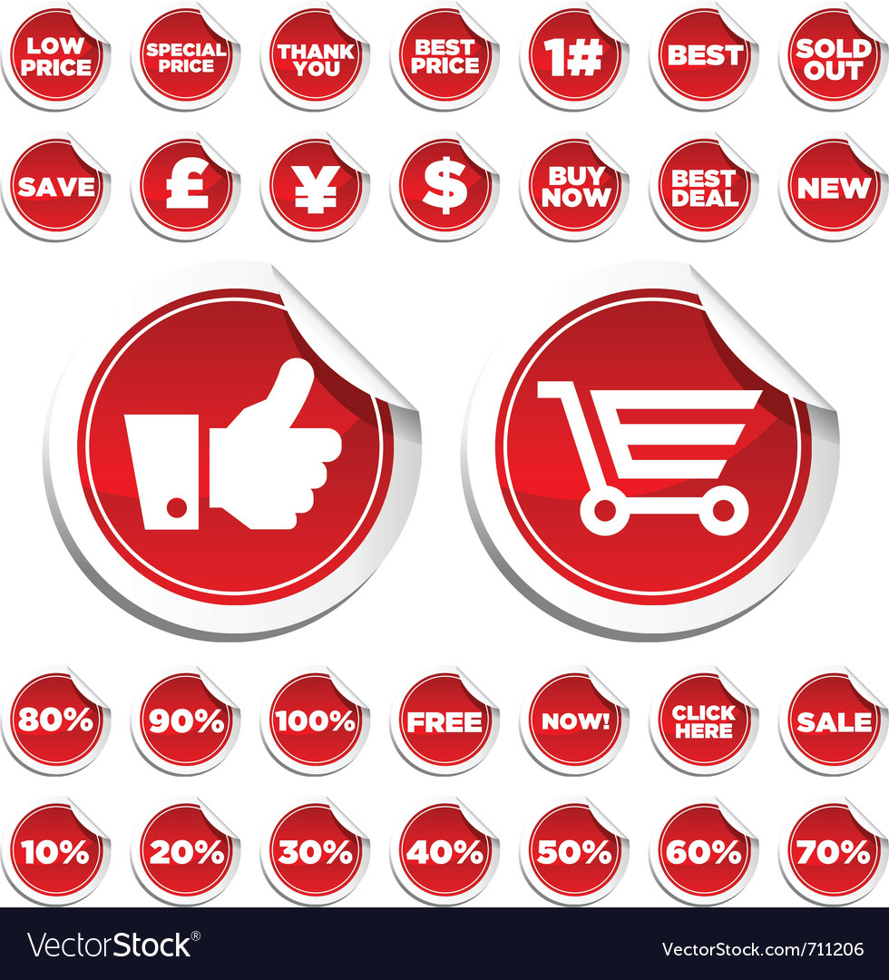Sale and shopping stickers vector | Price: 1 Credit (USD $1)
