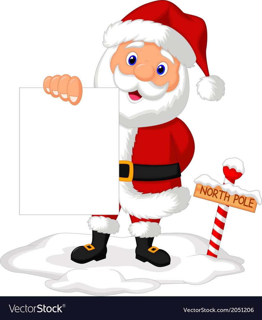 Santa cartoon holding blank paper vector | Price: 1 Credit (USD $1)