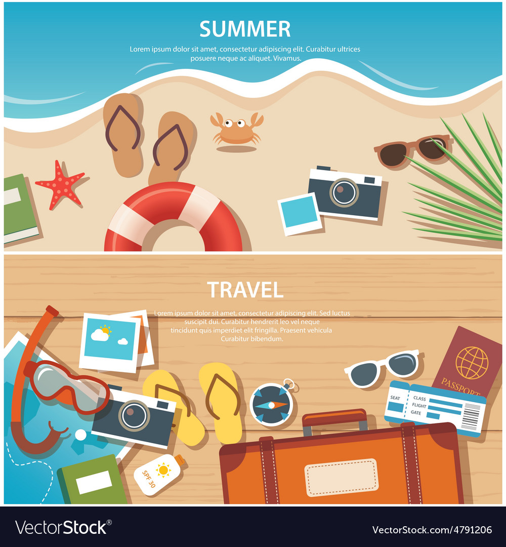 Summer and travel flat banner template vector | Price: 3 Credit (USD $3)