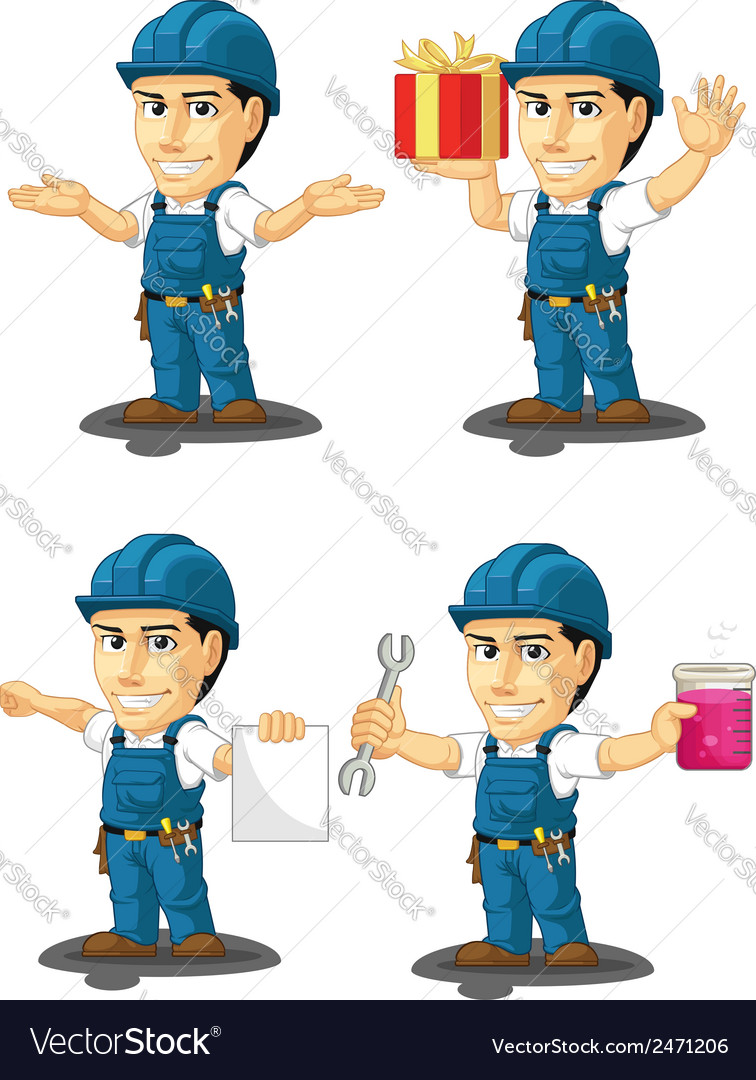 Technician or repairman mascot 11 vector | Price: 1 Credit (USD $1)