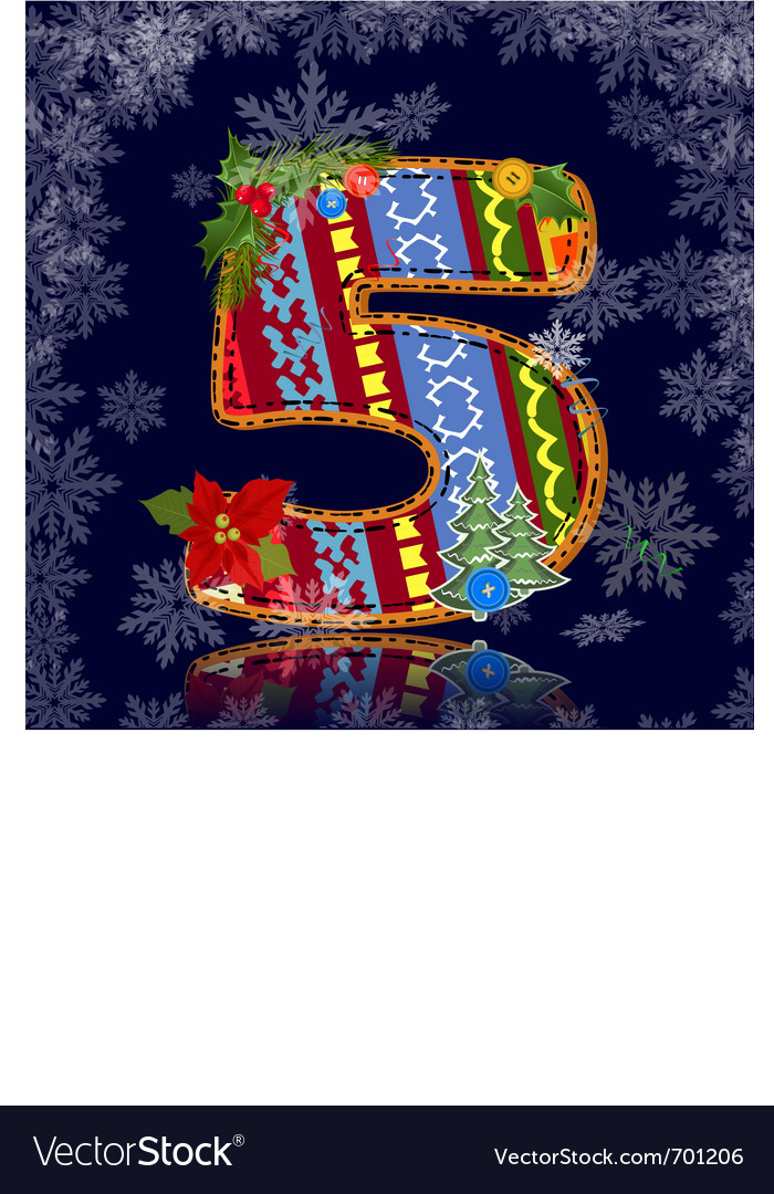 Winter number letter with an ornament vector   Price: 1 Credit (USD $1)