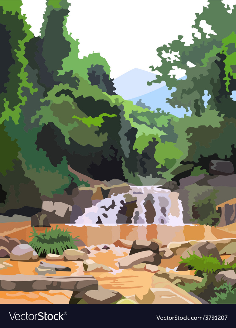 Background forest with mountain river vector | Price: 1 Credit (USD $1)