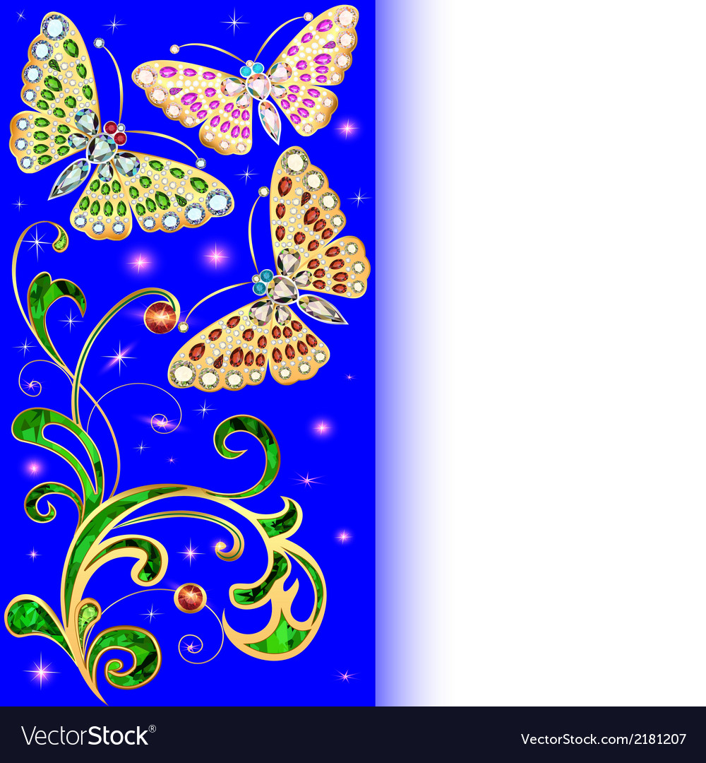 Background with butterflies and ornaments vector | Price: 1 Credit (USD $1)