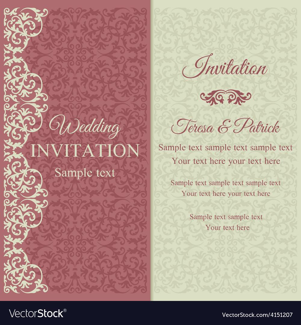 Baroque invitation pink and beige vector | Price: 1 Credit (USD $1)