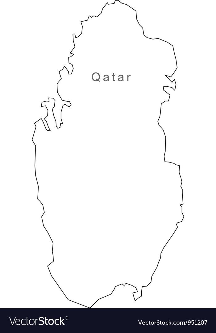 Black white qatar outline map vector | Price: 1 Credit (USD $1)