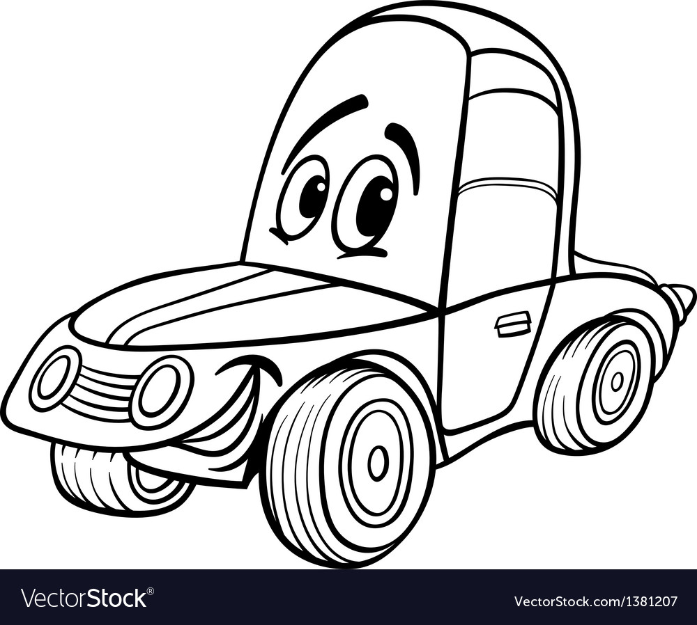 Car cartoon for coloring book vector | Price: 1 Credit (USD $1)
