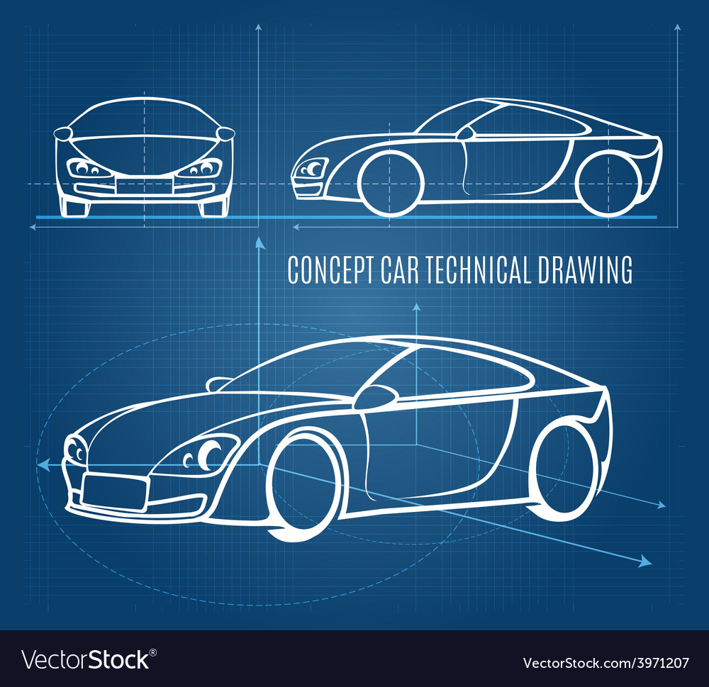Concept car technical drawing vector | Price: 1 Credit (USD $1)