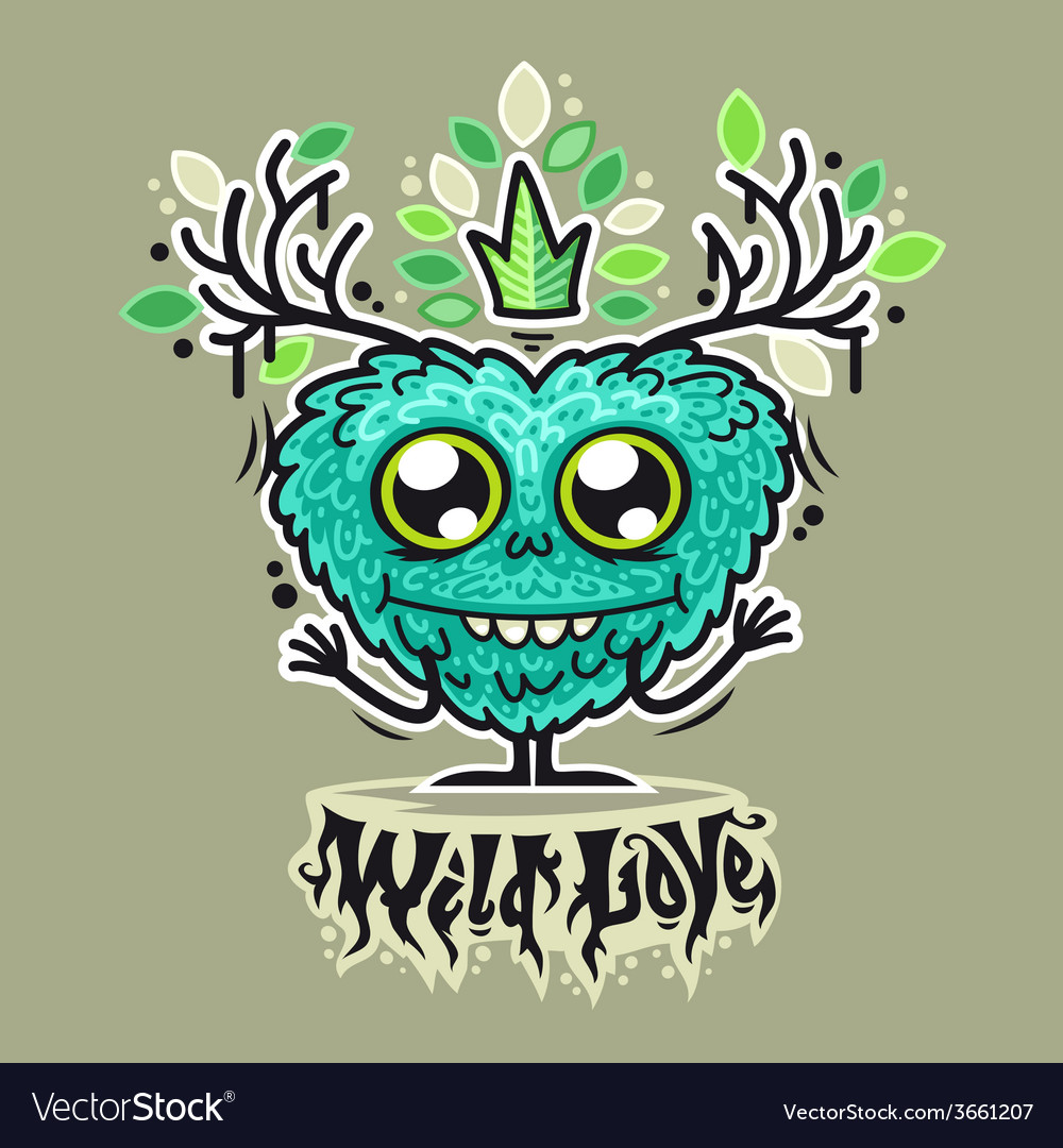 Cute wild love monster vector | Price: 1 Credit (USD $1)