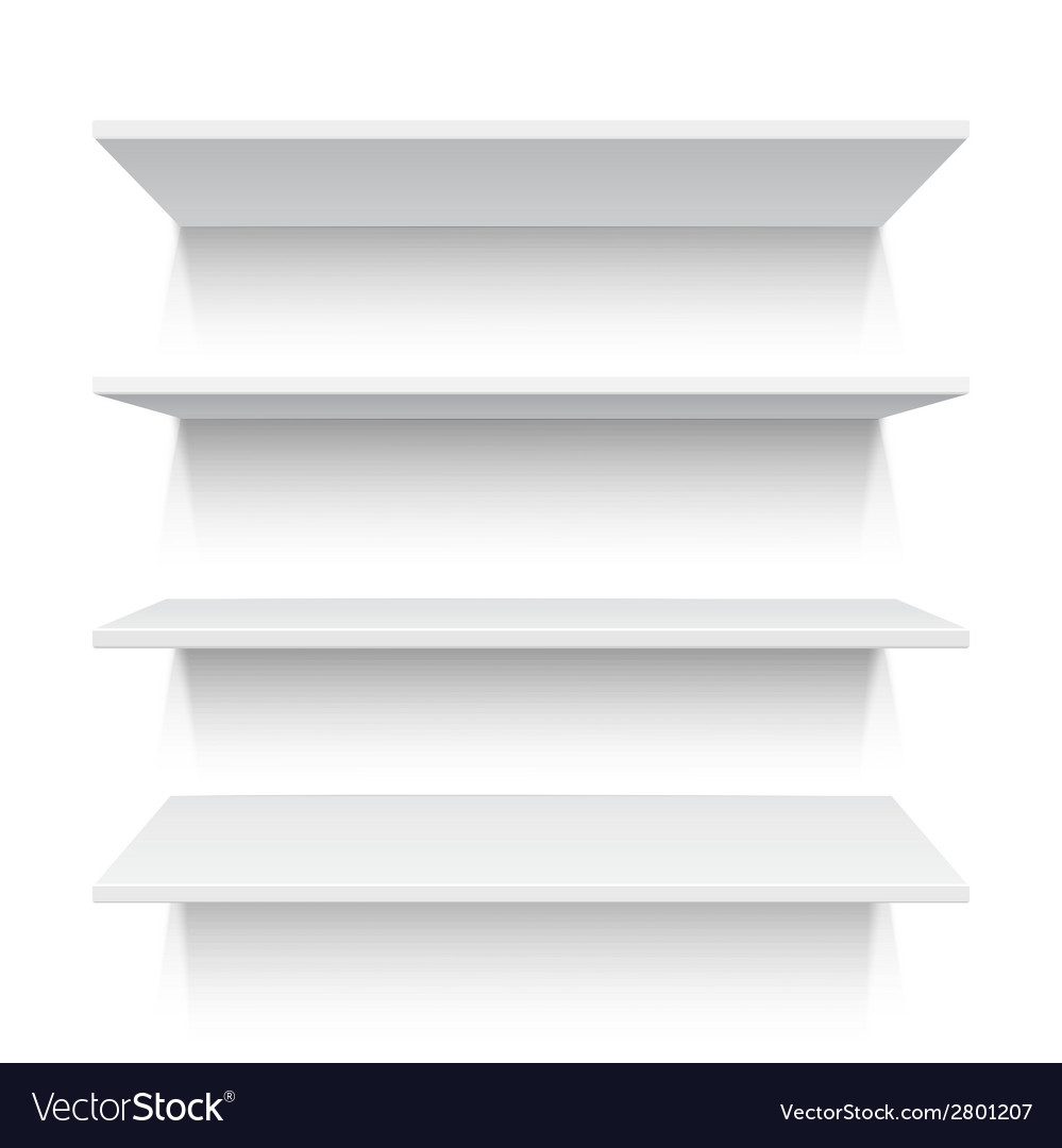 Four white realistic shelves vector | Price: 1 Credit (USD $1)