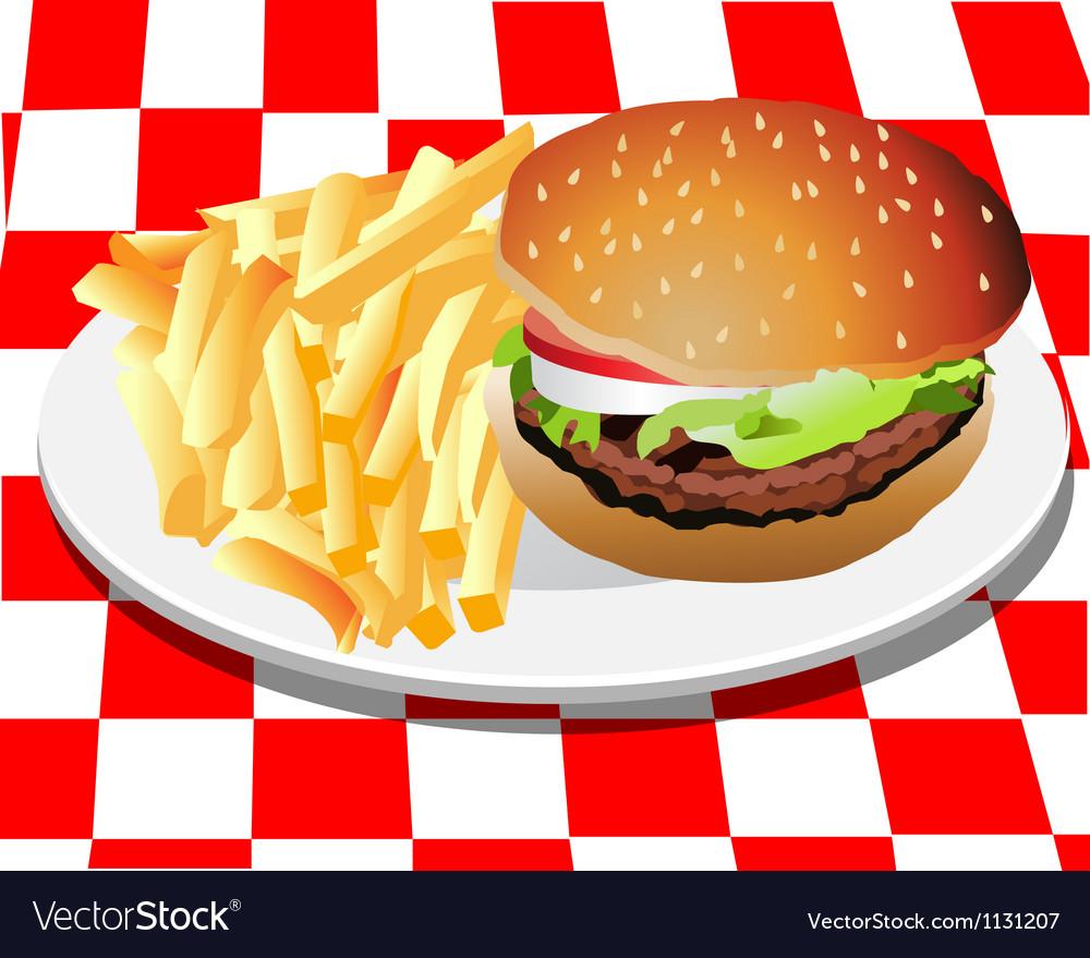 Hamburger and fries vector | Price: 1 Credit (USD $1)
