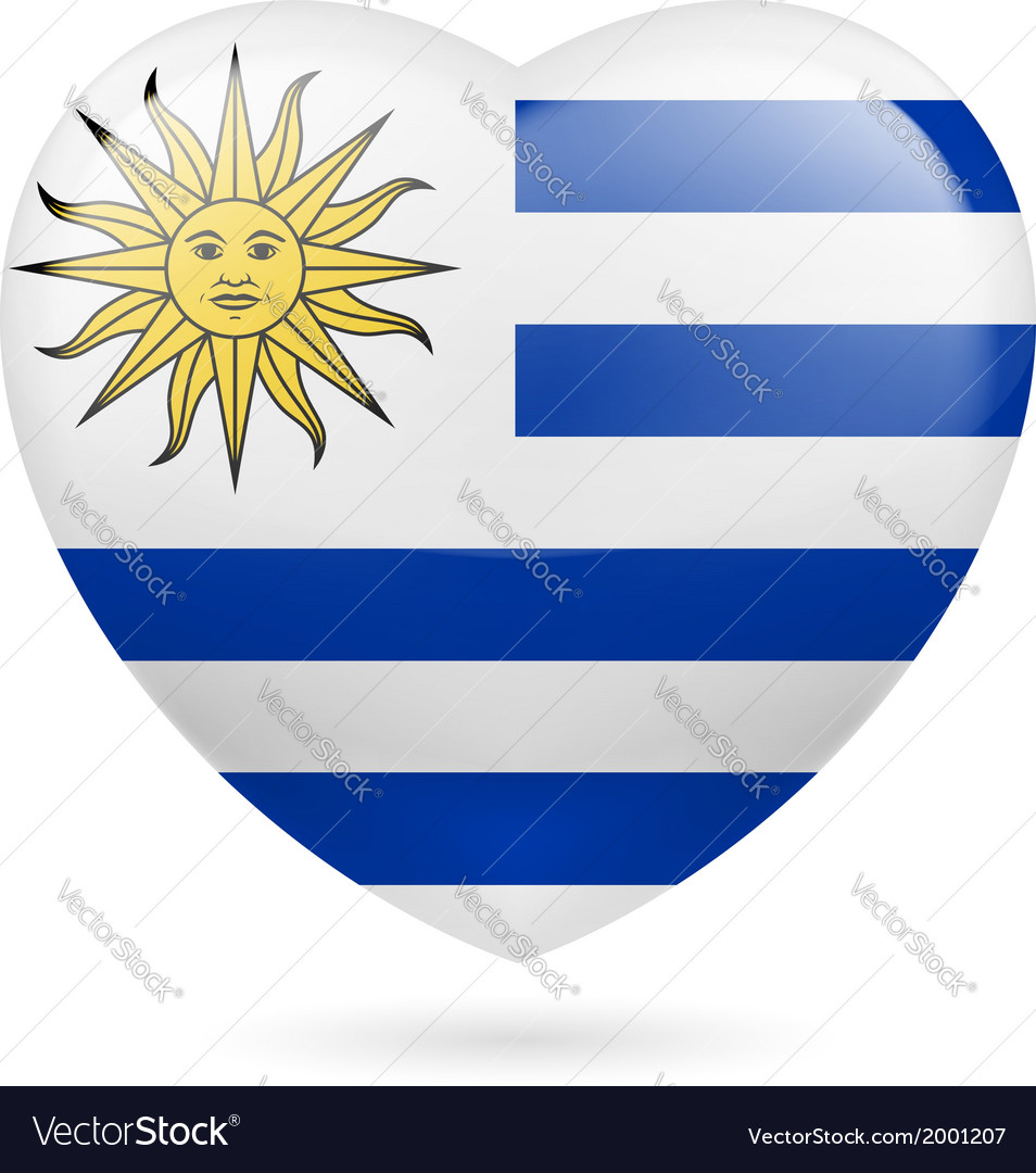 Heart icon of uruguay vector | Price: 1 Credit (USD $1)
