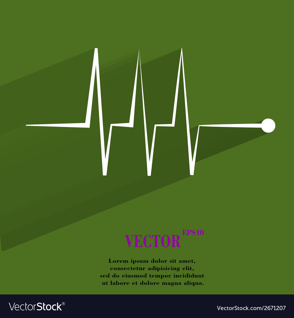 Heart rhythm flat modern web button with long vector | Price: 1 Credit (USD $1)