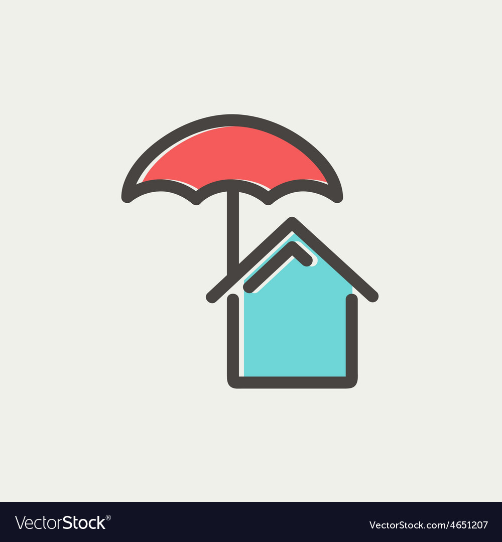 House insurance thin line icon vector | Price: 1 Credit (USD $1)