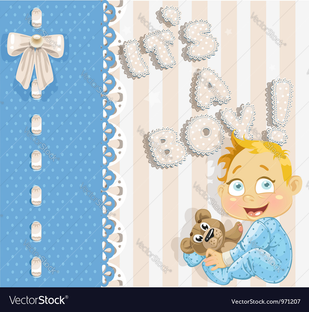 Its a boy blue lovely announcement card vector | Price: 3 Credit (USD $3)