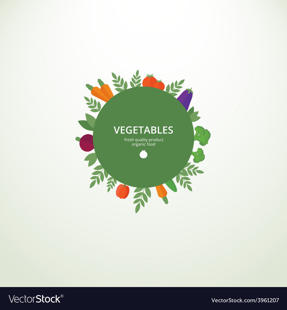 Label with fresh vegetables vector | Price: 1 Credit (USD $1)