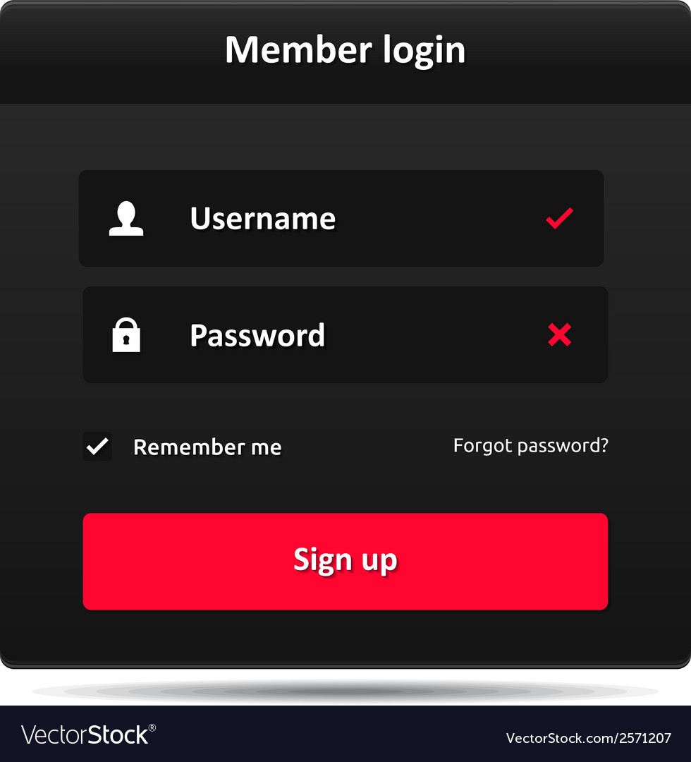 Member login template vector | Price: 1 Credit (USD $1)