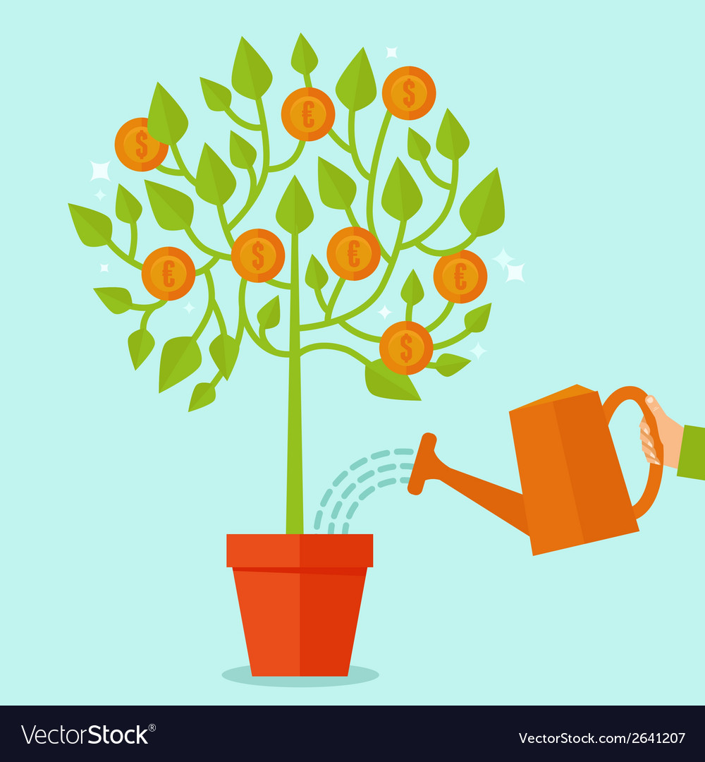Money tree concept in flat style vector | Price: 1 Credit (USD $1)