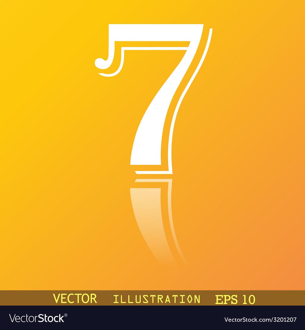 Number seven icon symbol flat modern web design vector | Price: 1 Credit (USD $1)