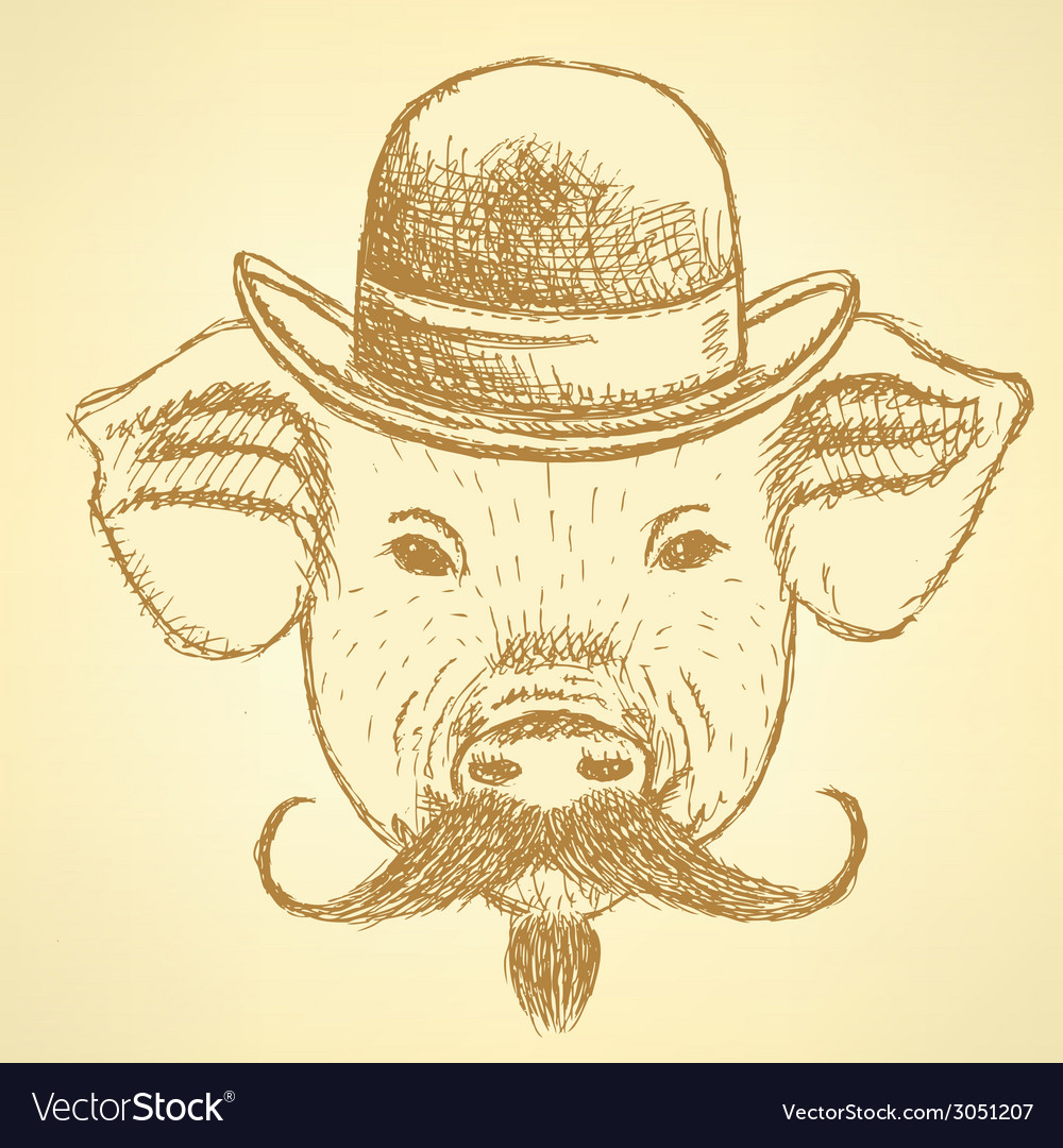 Sketch pig in hat with mustche ackground vector | Price: 1 Credit (USD $1)