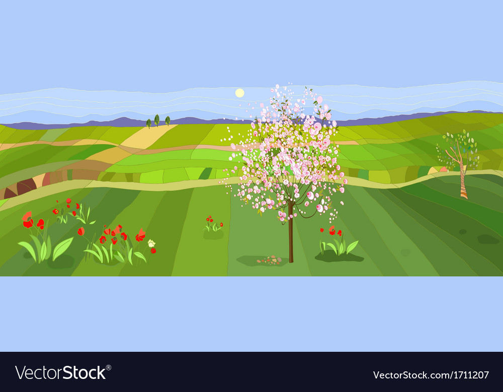 Spring landscape vector | Price: 3 Credit (USD $3)