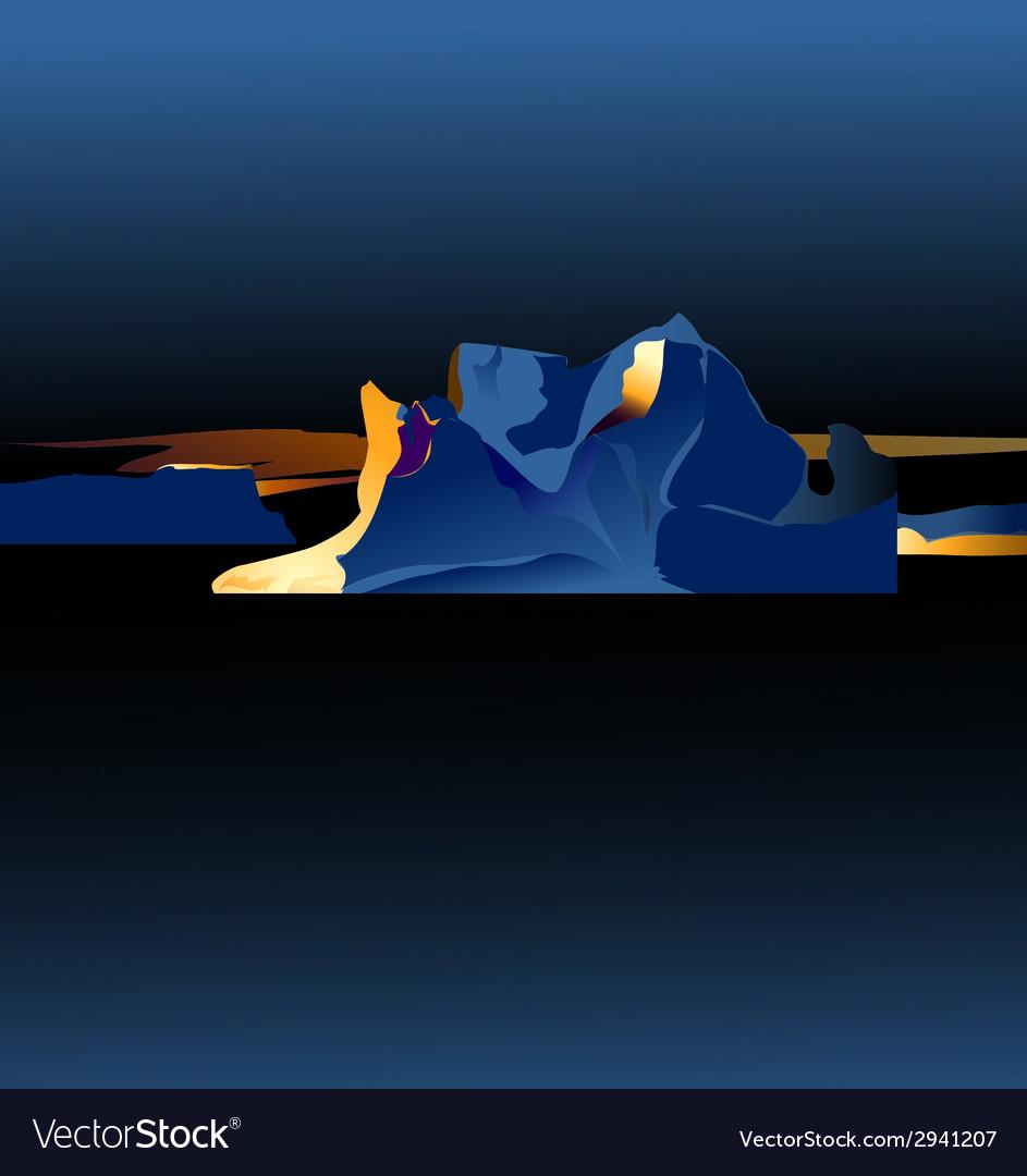 Sunset on iceberg vector | Price: 1 Credit (USD $1)