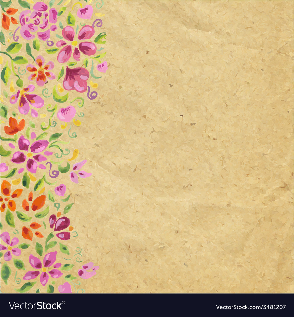 Vintage card with watercolor flowers vector | Price: 1 Credit (USD $1)