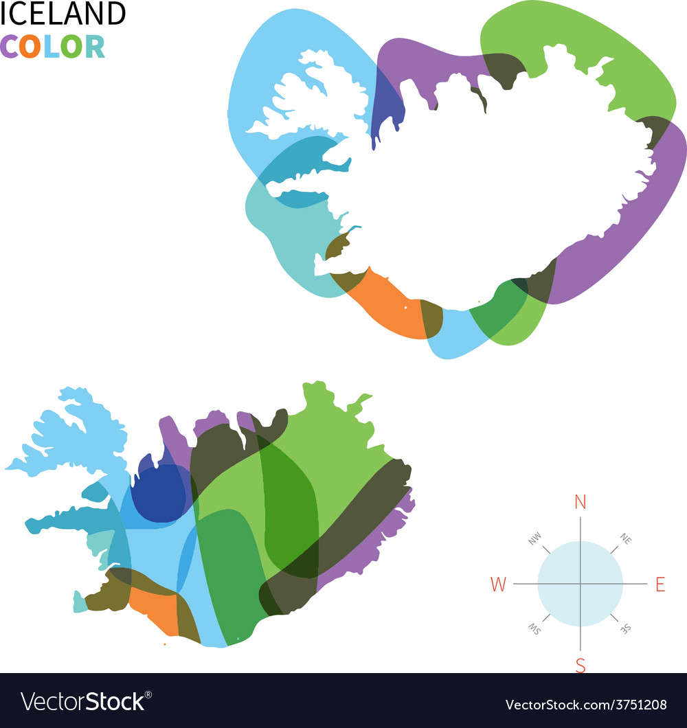 Abstract color map of iceland vector | Price: 1 Credit (USD $1)