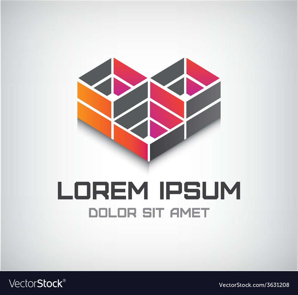 Abstract cube icon logo isolated vector | Price: 1 Credit (USD $1)