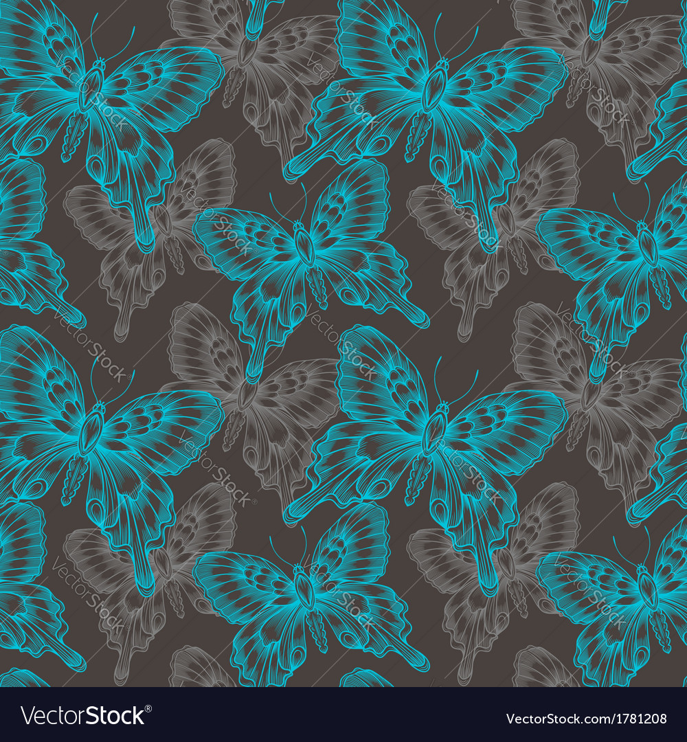 Bright seamless pattern with blue decorative vector | Price: 1 Credit (USD $1)