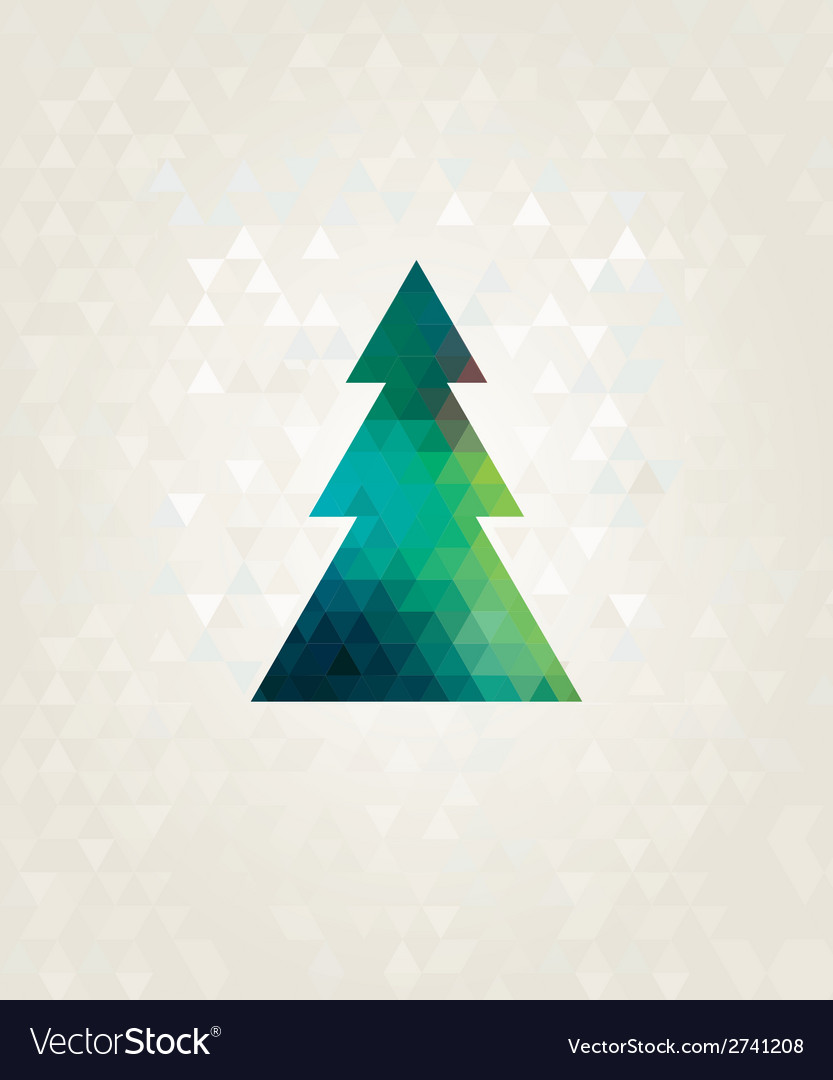 Christmas tree with colorful triangle diamonds vector | Price: 1 Credit (USD $1)