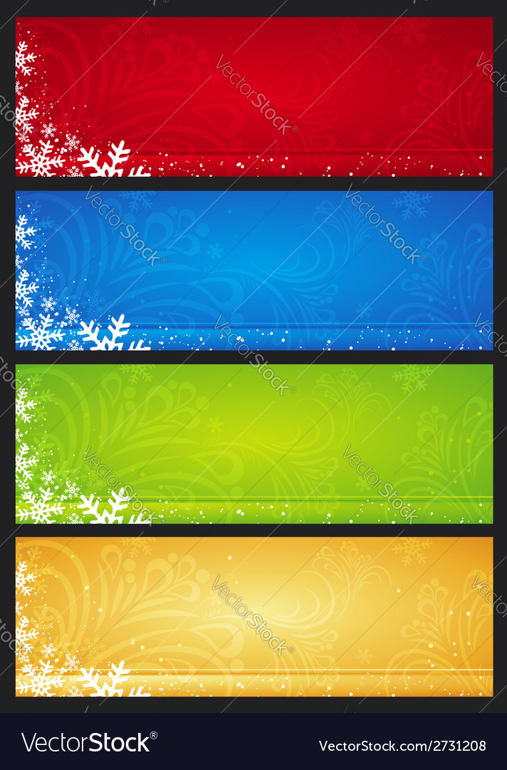 Color christmas banners with snowflakes vector   Price: 1 Credit (USD $1)