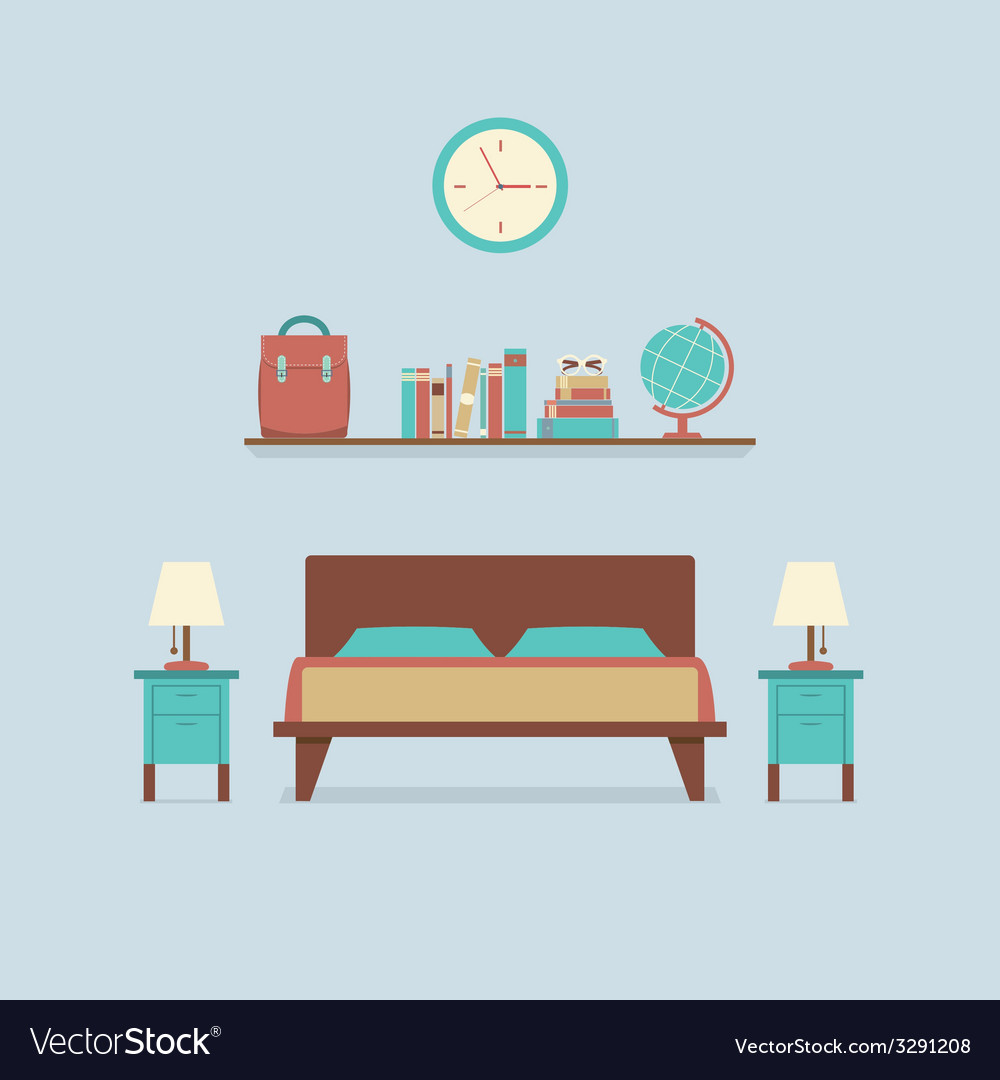 Flat design bedroom interior vector | Price: 1 Credit (USD $1)