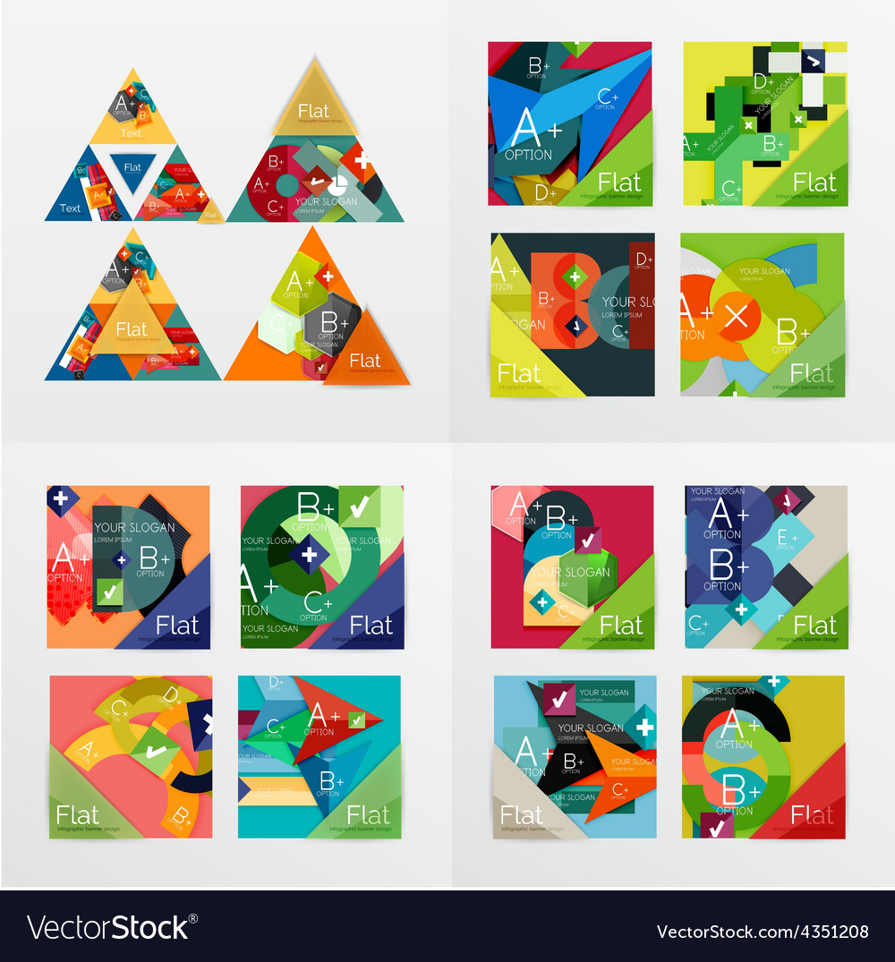 Flat design geometric info banners web boxes vector   Price: 1 Credit (USD $1)
