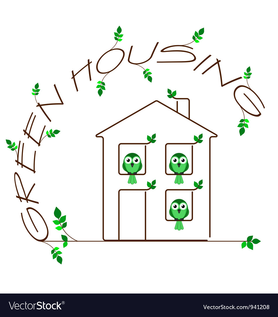 Green housing vector | Price: 1 Credit (USD $1)