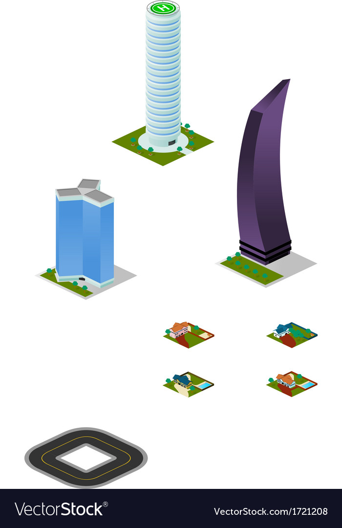 Isometric city misc buildings pack vector | Price: 1 Credit (USD $1)