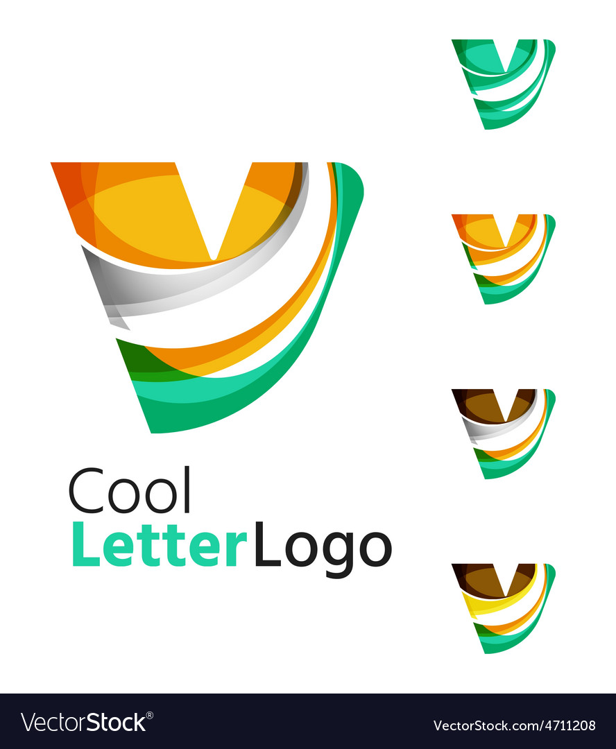 Set of abstract v letter company logos business vector | Price: 1 Credit (USD $1)