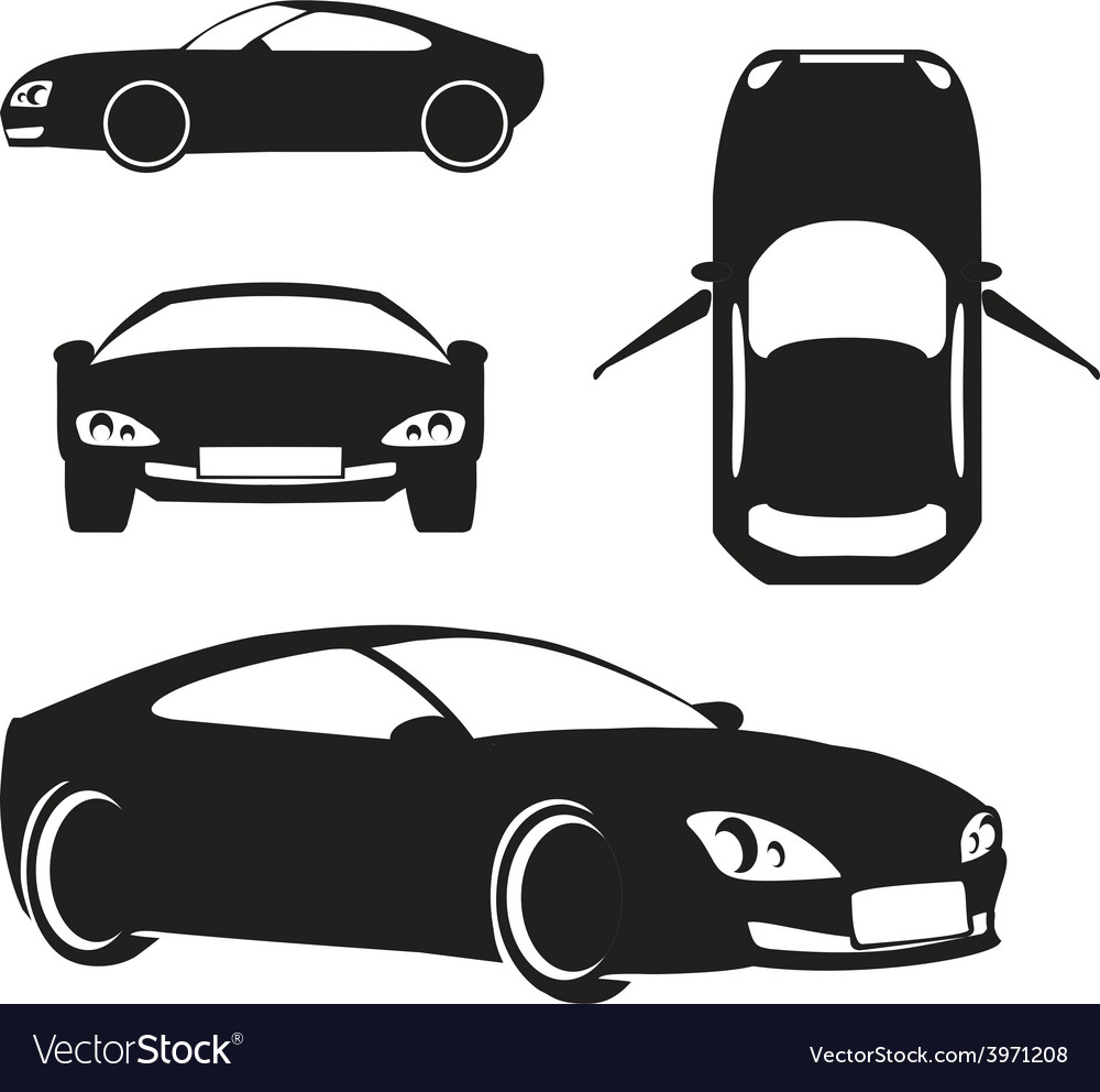 Silhouette car isolated on white vector | Price: 1 Credit (USD $1)