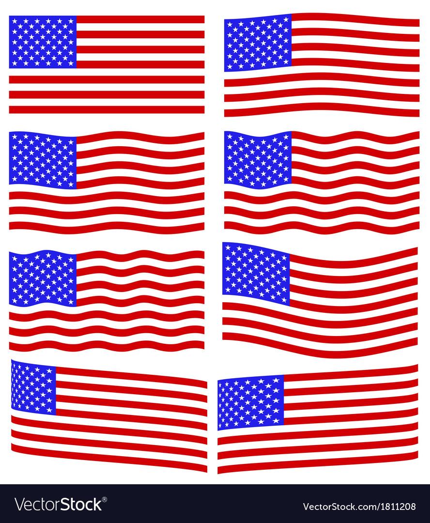 Usa flag set vector | Price: 1 Credit (USD $1)