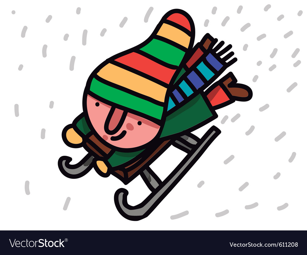 Winter child riding sleigh vector | Price: 1 Credit (USD $1)