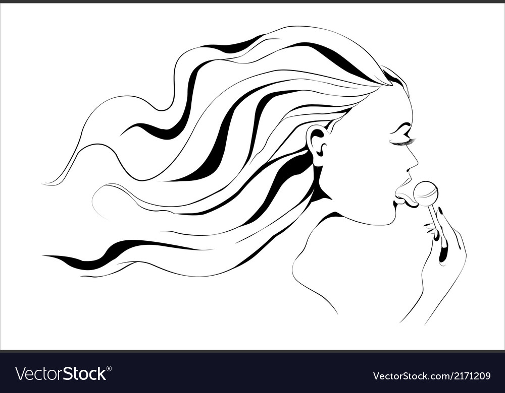 Girl with lollipop outline vector | Price: 1 Credit (USD $1)