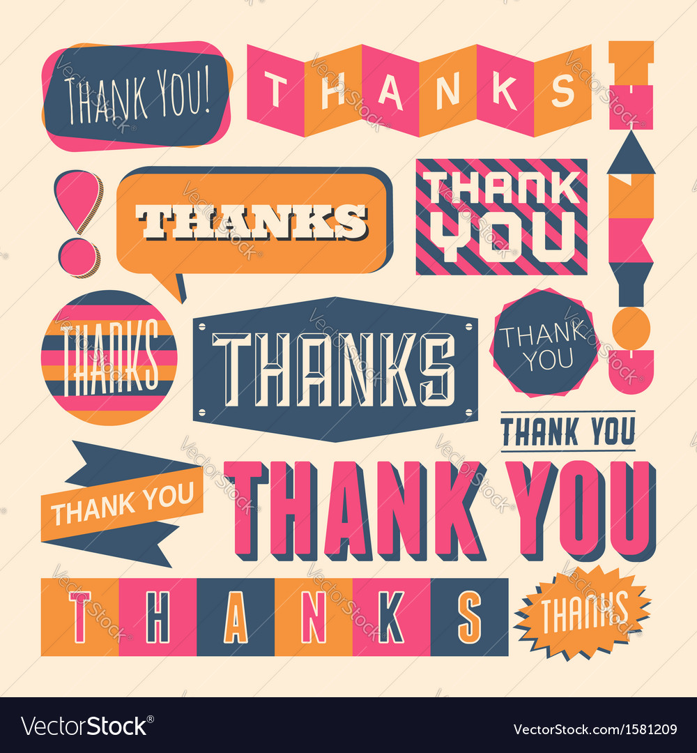 Retro style thank you design elelements set vector | Price: 1 Credit (USD $1)